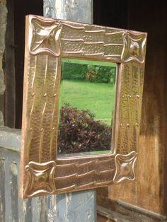 Antiques Atlas - Unusual Arts & Crafts Copper Mirror Mirror Plates, Mirrors, Copper Mirror, Unusual Art, Small Art, Repurposed Furniture, Arts And Crafts, Antiques, Frame