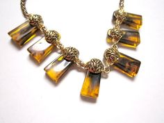 Amber Lucite Necklace Vintage Gold Marbled Plastic by SoBejeweled