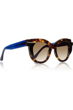 ed80acc1 Handmade Tortoiseshell acetate Graduated brown lenses, raised geometric  motif at temple, blue arms Come