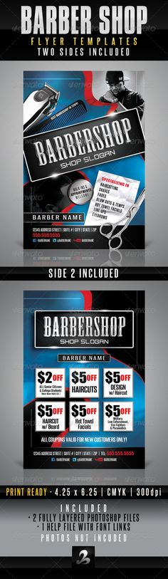 Barbershop Flyer Templates  #GraphicRiver         Use this photoshop template for any barbershop, salon or professional servi