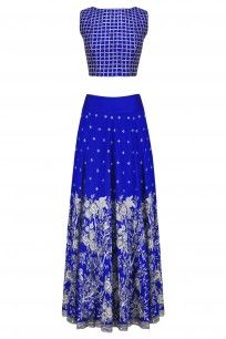 Blue and Silver Birds and Floral Embroidered Lehenga Set
