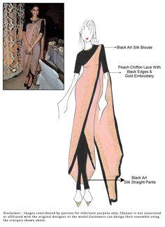 Cbazaar DIY Peach Sonam Kapoor Pant Style Saree