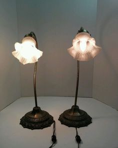 Set of 4 vintage frosted glass flair look light lamp shade ebay lot of 2 vintage tulip brass gooseneck lamps w milk frosted glass shades 19 aloadofball Images