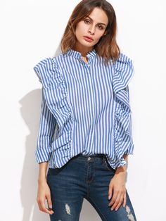 Shop Blue Vertical Striped Hidden Button Ruffle Blouse online. SheIn offers Blue Vertical Striped Hidden Button Ruffle Blouse & more to fit your fashionable needs.