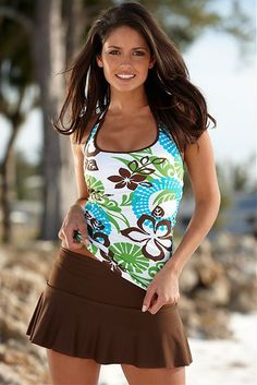 "Island Fever Sport Tankini with Brown Sassy Skirt. 25% off with code ""violet25""."