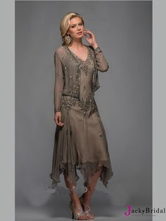 2015 Ankle-Length V-Neck Lace Chiffon Mother Of The Bride Dresses With Jacket AMT0081