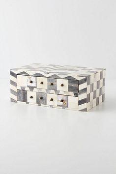 Anthropologie Bone Mosaic Jewelry box bone mother of pearl