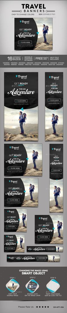 Buy Travel & Tourism Web Banners by Hyov on GraphicRiver. Promote your Products and services related to travel niche with this great looking Banner Set. Design Web, Web Banner Design, Web Banners, Digital Banner, Blog Banner, Display Ads, Design Strategy, Travel And Tourism, Social Media Graphics