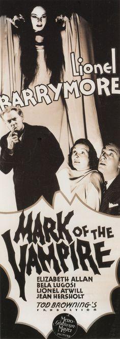 Best Film Posters : BELA LUGOSI in MARK OF THE VAMPIRE (1935) Insert poster. Tod Brownings often ov