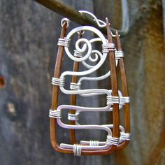 Mixed Metal Rectangular Hoop Earrings by FullSpiral on Etsy
