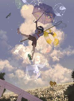 「夏のあとあじ」/「どーたく」のイラスト...@小鬼前辈采集到空(326图)_花瓣插画