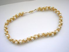 Retro gold tone metal chain necklace with faux pearl by badgestuff, $6.00