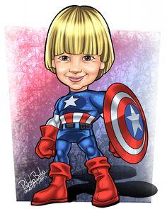 Caricatura, Caricatura de criança, Caricatura de super herói, Caricatura do capitão américa, Capitão America, Menino, Desenho, Caricatura encomendada.