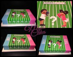 Football gender reveal cake