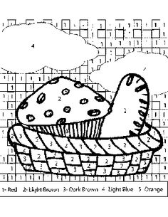 Bread In Basket Color By Number Coloring Page