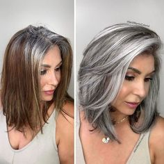 Pelo Color Ceniza, Grey Hair Transformation, Gray Hair Highlights, Chunky Highlights, Caramel Highlights, Lowlights For Gray Hair, Peekaboo Highlights, Caramel Balayage, Transition To Gray Hair