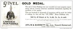 Werbung - Original - Anzeige / Advertise 1903 : (ENGLISH) ST.IVEL CHRISTMAS PLUM PUDDINGS/ APLIN & BARRETT YEOVIL 260 x 90 mm