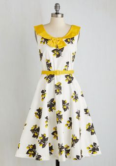 Era of Romance Dress. Honor the beauty of bygone days at your next occasion in this vintage-inspired floral dress! #white #modcloth