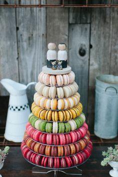 Macaroon cake: http://www.stylemepretty.com/little-black-book-blog/2015/02/17/modern-masculine-summer-wedding-at-barndiva/ | Photography: Abi Q - http://abiqphotography.com/