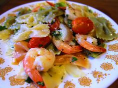 Baked Shrimp with Vegetables and Pasta with Lemon Garlic Sauce