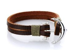 Brown Leather bracelet with silver anchor clasp 100% Genuine Real Leather Handmade