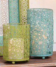 Blue & Green Pierced Candleholder Set