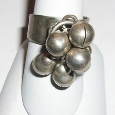 Vintage TN28 Silver Mexico Ring w/Dangling Beads by MICSJWL, $22.00