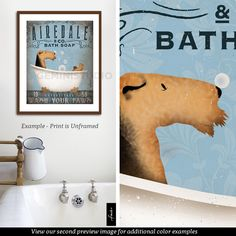 Airedale Terrier dog bath soap Company vintage style artwork by Stephen Fowler Giclee Signed Print by geministudio on Etsy https://www.etsy.com/listing/243781738/airedale-terrier-dog-bath-soap-company