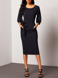Puff Sleeve Belt Chiffon Slim Dress