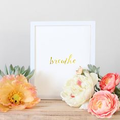 Breathe Typography Art Gold Typography Quote art by GoldByCafeInk