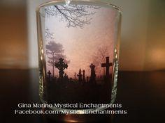 Halloween CEMETERY votive candle holder by MYSTICALLYENCHANTING, $5.95