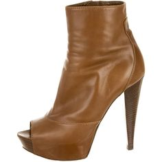 Pre-owned Sergio Rossi Ankle Boots ($155) ❤ liked on Polyvore featuring shoes, boots, ankle booties, brown, zipper ankle boots, leather bootie, brown bootie, brown leather bootie and brown booties