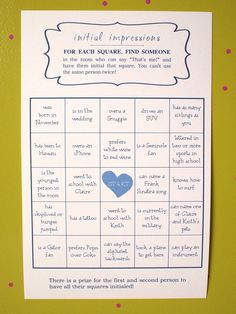 Wedding BINGO Game - great ice breaker - Customized, super fun game, rehearsal dinner, shower, reception