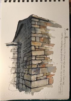 sketchbook study, working on more stonework-specifically quoins-the cornerstones-& perspective. A sketchbook study, working on more stonework-specifically quoins-the cornerstones-& perspective. Sketchbook Architecture, Gcse Art Sketchbook, Watercolor Architecture, Sketchbooks, Architecture Art, Watercolor Journal, Watercolor Paintings, Watercolour, John Harrison