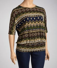 Take a look at this Navy Blue Native Tunic - Plus by Spin on #zulily today!
