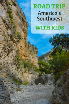 A Parent's Guide for a Spring Break Southwest Road Trip through Arizona, New Mexico and West Texas with Kids. Guadalupe Mountains National Park Devil's Hall Trail is pictured