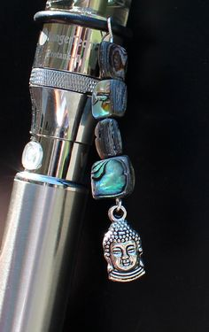 Silver Plated Buddha Head and Genuine Abalone eCig Charm - Vape Jewelry - Vape Charm