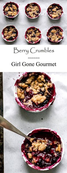 Individual berry crumbles - everyone loves their own dessert! Perfect for entertaining | girlgonegourmet.com