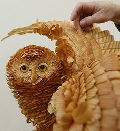 Unique Animal Sculptures By Sergei Bobkov, Made From Tiny Wood Chips