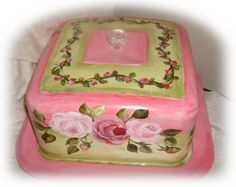 Vintage hand-painted square cake carrier