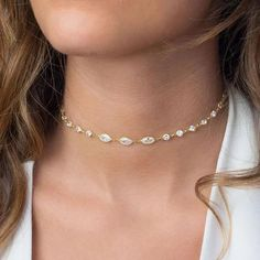 Dainty jewelry for your girlfriend.delicate choker necklace styles perfect gifts for her. Delicate diamanté choker necklace by Body Kandy Couture.