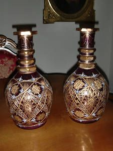PAIR OF PINK CUT GLASS GOLD PLATED BOHEMIAN DECANTERS Antique Glass, My Favorite Part, Cut Glass, Bottles, Plating, Bohemian, Pottery, Crystals, Antiques