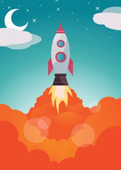 Vector illustration of a space shuttle launch lift off, made in Illustrator.