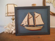 Vintage Sail boat Schooner ~ 3D Wall art ~ Picture ~ Framed boat ~ Beach Cottage House ~