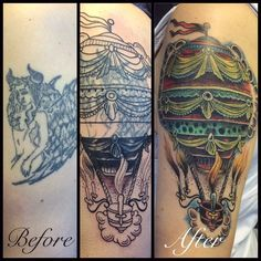 #coverup #airballoontattoo J Tattoo, Air Balloon Tattoo, Balloons, Cover Up, Instagram Posts, Life, Style, Swag, Globes