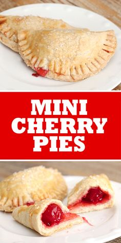 One of my absolute favorite desserts is cherry pie. There's just something about the warm, gooey cherries mixed in with crumbly pie crust. It's a staple at my parent's house during summer Sunday dinne (Favorite Desserts) Mini Cherry Pies, Cherry Hand Pies, Mini Pies, Mini Desserts, Just Desserts, Plated Desserts, Homemade Desserts, Pie Dessert, Dessert Recipes