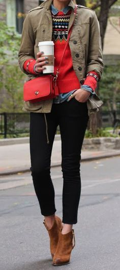 Fall fashion | Patterned sweater over denim shirt, khaki jacket and ankle boots