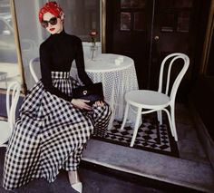 hijab house gingham maxi skirt black and white red turban