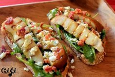 Grilled Pear & Blue Cheese Crostini with Bacon and Sigona's Cranberry-Pear Vinaigrette_sm