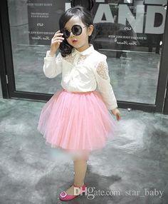 filles chemises hauts fille shirt mignon floral lace manches longues + jupe rose set